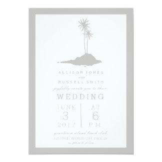 Modern Island Beach Wedding Invitation - Gray