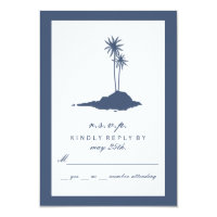 Modern Island Beach Wedding RSVP - Dark Blue Card