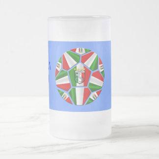 Modern Italian Soccer ball panels artwork gifts Frosted Glass Beer Mug