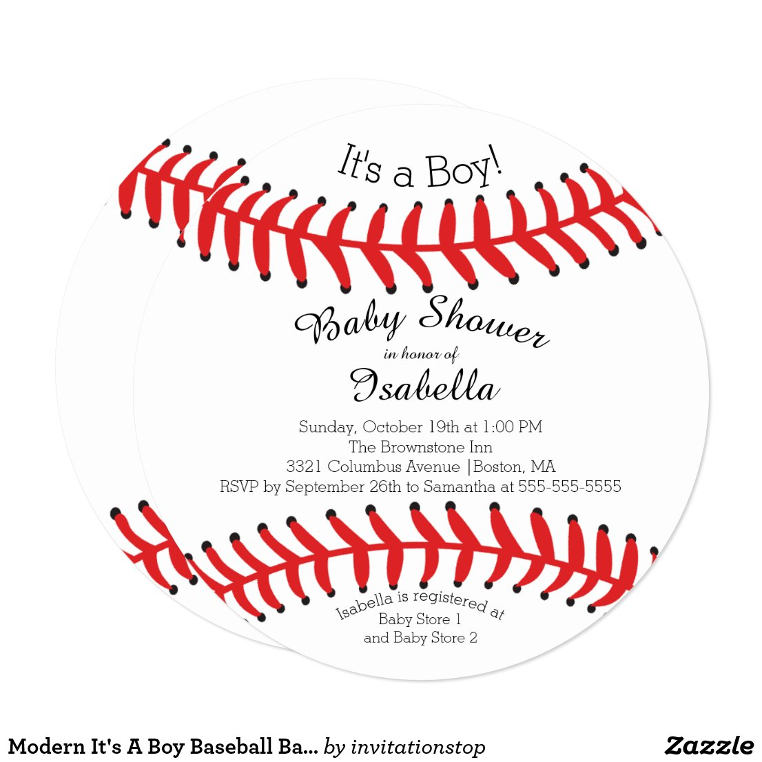 Modern It's A Boy Baseball Baby Shower Invitations