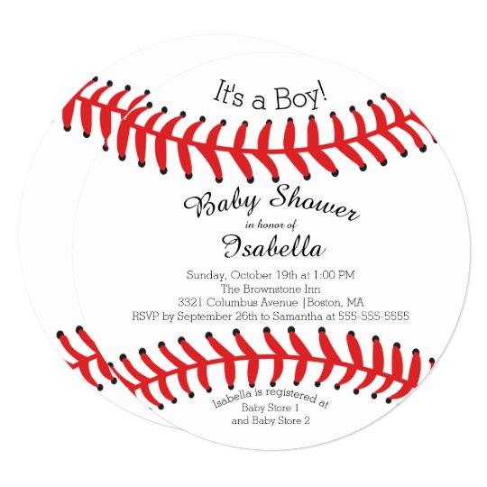 Modern It S A Boy Baseball Baby Shower Invitations