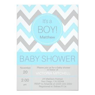 Modern 'It's a Boy' Blue/Grey Chevron Baby Shower Card
