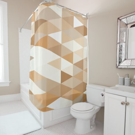 Modern Ivory Taupe Gray Tan Brown Triangle Pattern Shower Curtain