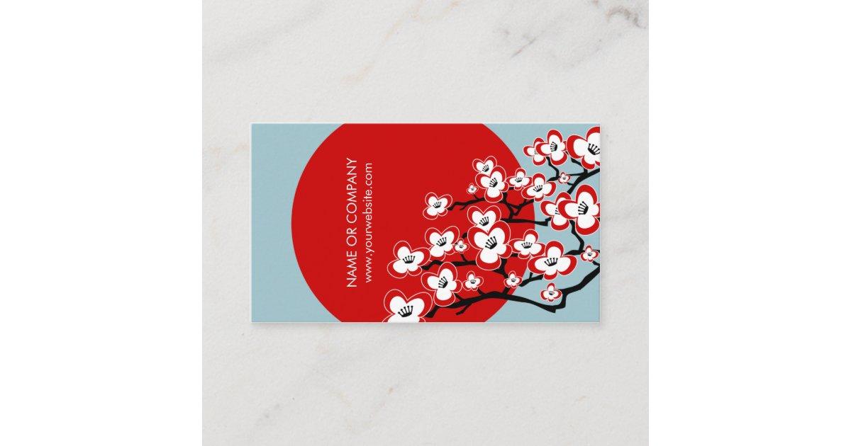 Modern Japanese Cherry Blossom Business Card | Zazzle.com