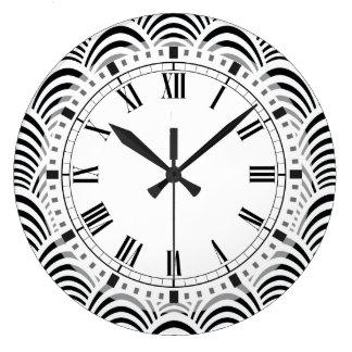 Modern Jazz Age Elegant Black and White 1920s Large Clock