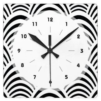 Modern Jazz Age Elegant Black and White 1920s Square Wall Clock