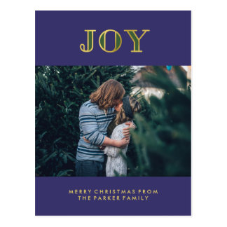 Modern Jewel Tone Christmas Joy with Photo Postcard