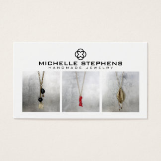 Modern Jewelry Designer Logo and Photography White Business Card