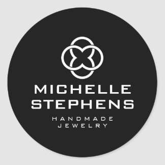 Modern Jewelry Designer Logo Black Stickers