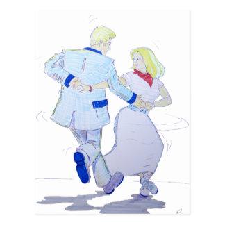 Modern Jive Ceroc Cartoon Couple Postcard