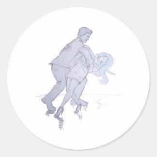 Modern Jive Ceroc Competition Dancers Classic Round Sticker