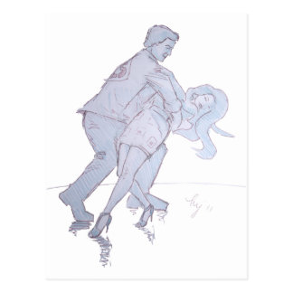 Modern Jive Ceroc Competition Dancers Postcard
