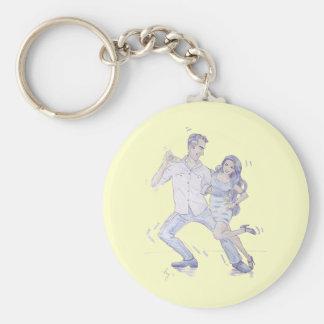 Modern Jive Ceroc Dancers Basic Round Button Keychain