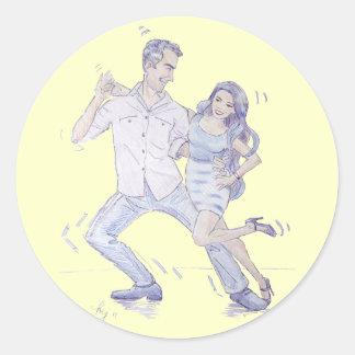 Modern Jive Ceroc Dancers Classic Round Sticker