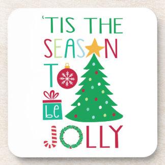 Modern Jolly Christmas Beverage Coaster