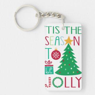 Modern Jolly Christmas Keychain