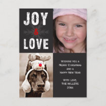 Modern Joy & Love Christmas Holiday Photo