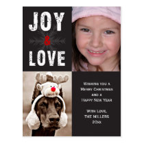 Modern Joy & Love Christmas Holiday Photo Postcard