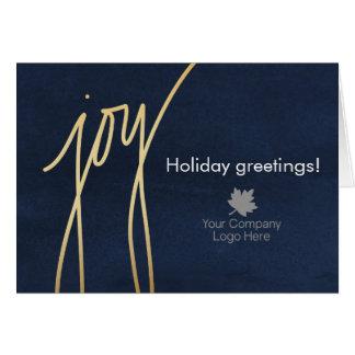 Modern Joy Script Holiday Corporate Logo Imprinted Card