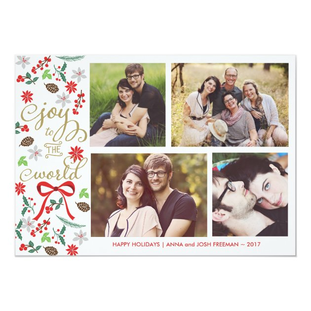 Modern Joy To The World Holidays Photo Card
