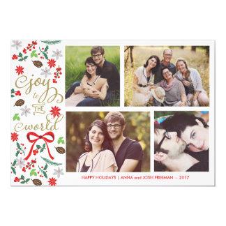 "Modern Joy To The World Holidays Photo Card 5"" X 7"" Invitation Card"