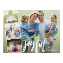 Modern Joyful Hand Lettered Holiday Photo Collage Postcard