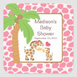 Modern Jungle Giraffe Safari Baby Shower Sticker