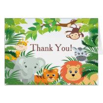 Modern Jungle Safari Baby Shower Thank You Card