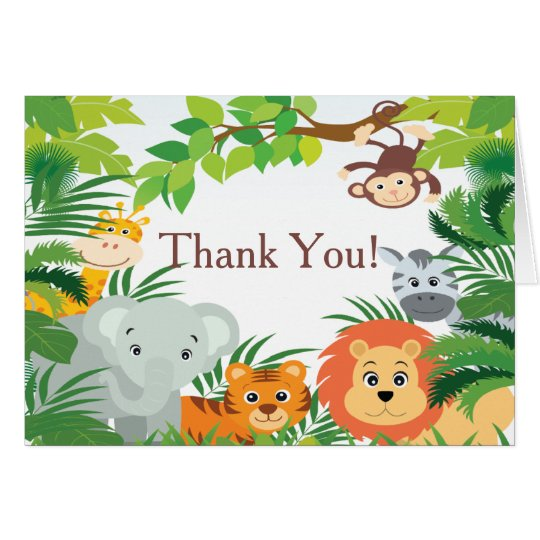 Brand new Modern Jungle Safari Baby Shower Thank You Card | Zazzle.com XA67
