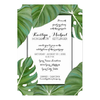 Modern Jungle Topical Beach Coastal Leaves Wedding Card