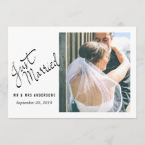 Modern Just Married Typography Wedding Photo Announcement