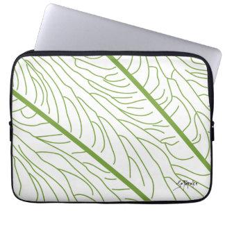 Modern Kalo Leaf - White Computer Sleeve