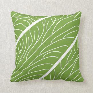 Modern Kalo Leaf White/Green Throw Pillow