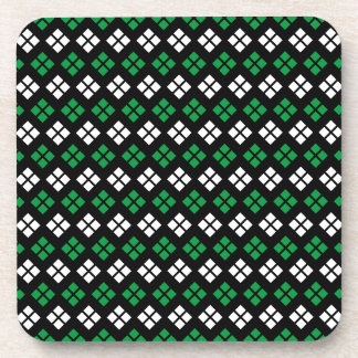 Modern Kelly Green & White Argyle Pattern on Black Coaster