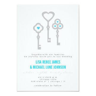 Modern Key with Hearts Wedding Invitation