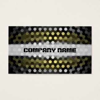 Modern Khaki and Gray Hexagons Pattern Business Card