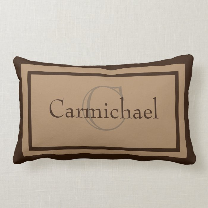 Modern Initial Pillow : Modern Khaki/Brown Monogram Name Accent Pillow Zazzle