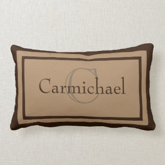 Modern Khaki/Brown Monogram Name Accent Pillow