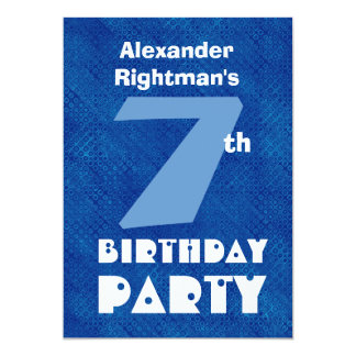 Modern Kid's 7th Birthday Custom Name Blue W697 5x7 Paper Invitation Card