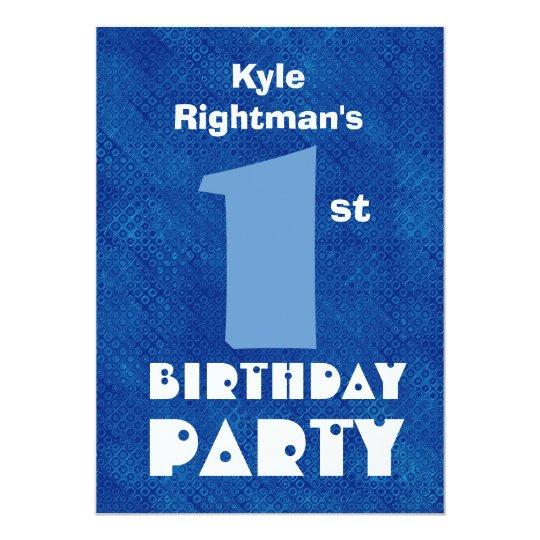 Modern Kid's First Birthday Custom Name Blue D452 Card