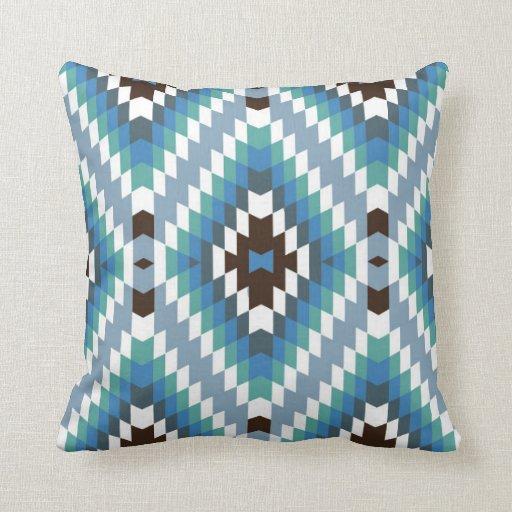 Modern Kilim Pillow : Modern Kilim Pattern Turquoise Brown Pillow Zazzle