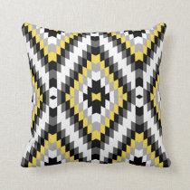Modern Kilim Pattern Yellow Gray Throw Pillow