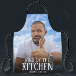 "Modern King of the Kitchen Photo | Name Apron<br><div class=""desc"">Do you know a man who thinks he is 'King of the Kitchen'? Whether it be cooking on the stove or BBQ, this modern apron allows you to upload a photo and customize the the text including name. Makes a great personalized gift for your husband, dad, brother, boyfriend, uncle -...</div>"