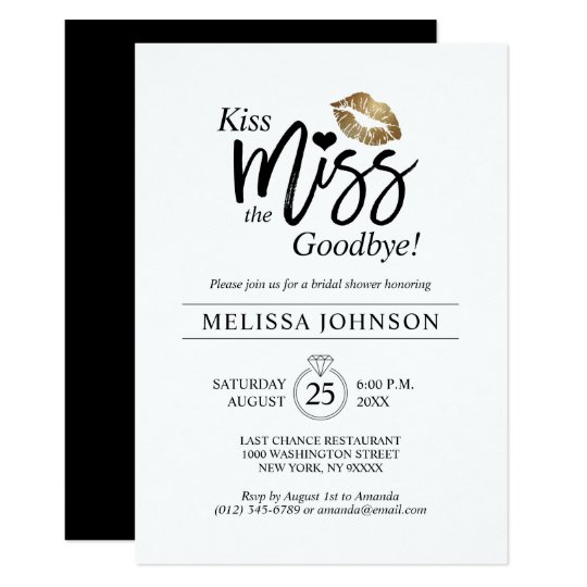 picture relating to Kiss the Miss Goodbye Printable known as Ground breaking Kiss Overlook Goodbye Gold Lips Bridal Shower Invitation