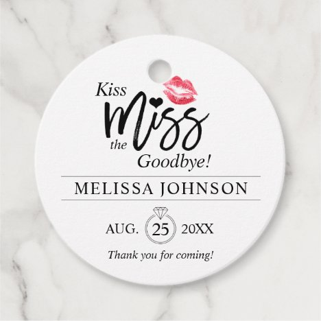 Modern Kiss Miss Goodbye Thank You Bridal Shower Favor Tags