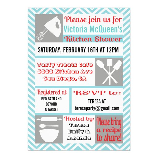 Modern Kitchen Bridal Shower Invitations 5 X 7 Invitation Card Zazzle
