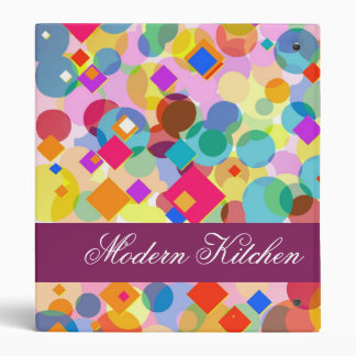 Modern Kitchen-Colorful Rectangle and Dot Pattern 3 Ring Binder
