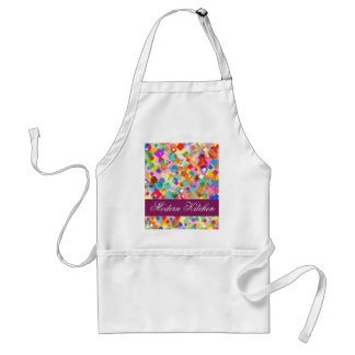 Modern Kitchen-Colorful Rectangle and Dot Pattern Adult Apron