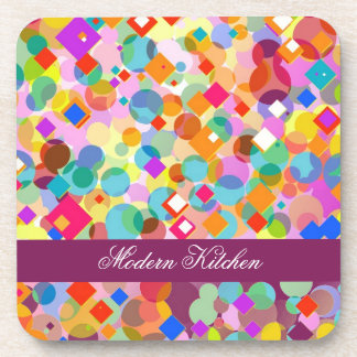 Modern Kitchen-Colorful Rectangle and Dot Pattern Beverage Coaster
