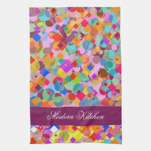 Modern Kitchen Colorful Triangle And Dot Pattern Kitchen Towel